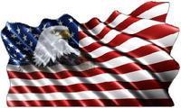 American Flag Eagle Waving Decal / Sticker 12