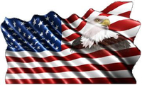 American Flag Eagle Waving Decal / Sticker 10