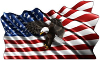American Flag Eagle Waving Decal / Sticker 14