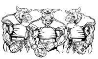 Football Bull Mascot Decal / Sticker 11