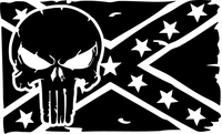 Weathered Punisher Confederate Flag Decal / Sticker 66