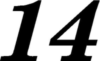 14 Race Number Motor Font Decal / Sticker