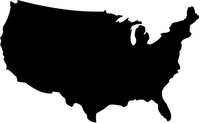 USA Map Decal / Sticker 02