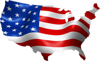 American Flag USA Map Decal / Sticker 10
