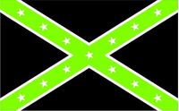 Black and Lime Green Confederate Flag Decal / Sticker 23