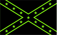 Black and Lime Green Confederate Flag Decal / Sticker 44