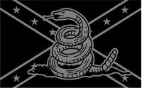 Black and Gray Confederate Flag Gadsden Decal / Sticker 64