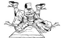 Trojans Baseball Mascot Sliding into Home Plate Decal / Sticker