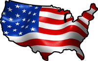 American Flag USA Map Decal / Sticker 11
