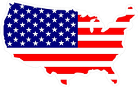 American Flag USA Map Decal / Sticker 04