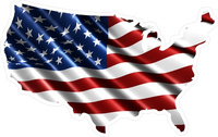 American Flag USA Map Decal / Sticker 05