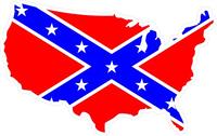 Confederate Flag USA Map Decal / Sticker 06
