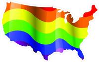 Rainbow LGBT Flag USA Map Decal / Sticker 09