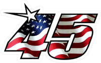 Number 45 American Flag Decal / Sticker a