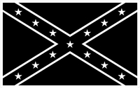 Black and White Confederate Flag Decal / Sticker 52
