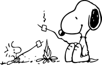 Snoopy and Woodstock Around Campfire Decal / Sticker 01