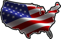 American Flag USA Map Decal / Sticker 108