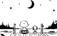 Charlie Brown and Snoopy on a Dock at Night Decal / Sticker 03