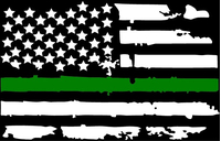 Thin Green Line American Flag Decal / Sticker 101