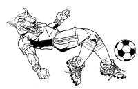 Wolves Soccer Mascot Decal / Sticker