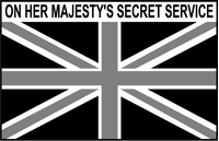 Great Britain Union Jack Flag Black and White On Here Majesty's Secret Service Decal / Sticker 05