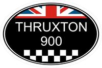Triumph Thruxton 900 Oval with British Flag Decal / Sticker 49