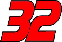 32 Race Number 2 COLOR Decal / Sticker