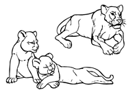 Lion and Cubs Mascot Decal / Sticker