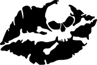 Kiss Of Death Lips Skull Decal / Sticker 01