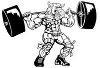 Weightlifting Bull Mascot Decal / Sticker 6