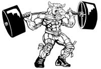Weightlifting Bull Mascot Decal / Sticker 6