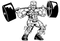 Weightlifting Frontiersman Mascot Decal / Sticker 6