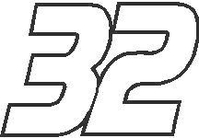 32 Race Number Decal / Sticker OUTLINE