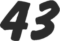 43 Race Number Dawncastle Font Decal / Sticker