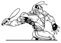 Baseball Batter Hornet, Yellow Jacket, Bee Mascot Decal / Sticker