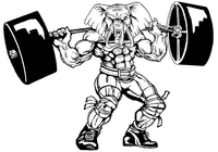Weightlifting Elephants Mascot Decal / Sticker 7