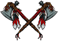 Crossed Tomahawk Mascot Decal / Sticker 02
