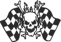 Skull and Checkered Flags Decal / Sticker