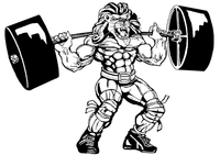 Weightlifting Lions Mascot Decal / Sticker 3