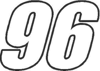 96 Race Number Impact Font Decal / Sticker