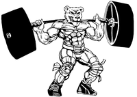 Weight Lifting Bear Mascot Decal / Sticker