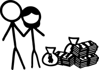 Rich Couple with no Kids Stick Figure Decal / Sticker 02