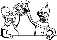 Bender and Homer Simpson Drinking Beer Decal / Sticker 05