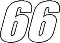 66 Race Number Impact Font Decal / Sticker