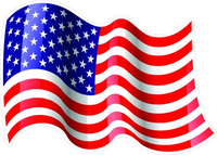 Waving American Flag Decal / Sticker 30
