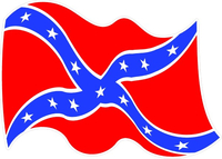 Waving Rebel / Confederate Flag Decal / Sticker 35