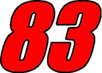 83 Race Number 2 Color Impact Font Decal / Sticker