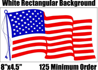 """8""""x4.5"""" American Flag Decals / Stickers in BULK"""