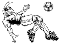 Soccer Hornet, Yellow Jacket, Bee Mascot Decal / Sticker 1