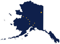Alaska State Outline Flag Decal / Sticker 01